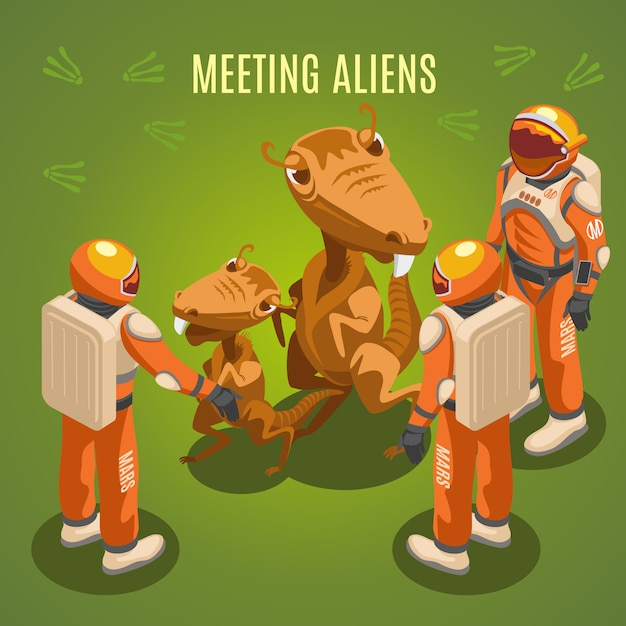 Space exploration meeting aliens composition Free Vector