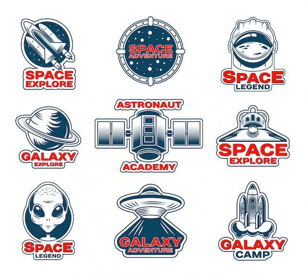 Space exploration patches set Free Vector