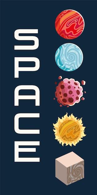 宇宙探検惑星太陽小惑星銀河イラスト Premiumベクター