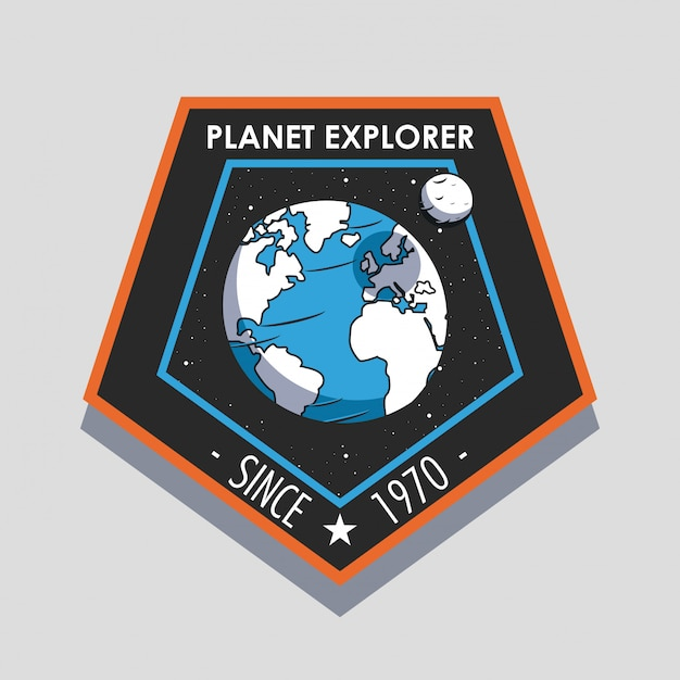 Space explorer patch emblem design Free Vector
