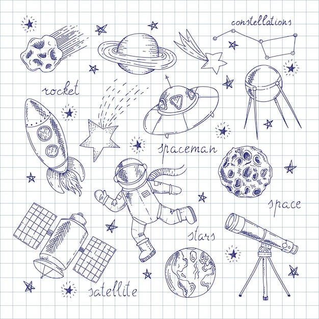 Набор рисунков исследователей космоса Premium векторы