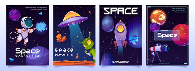 Space exploring banners with cute alien, ufo, astronaut, planets, rocket and shuttle Free Vector