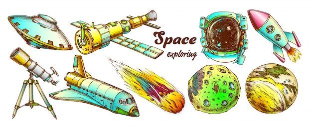 Space exploring color elements set Premium Vector