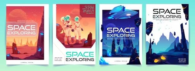 Space exploring flyers set with alien landscape Free Vector