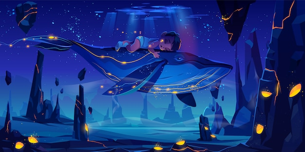 Space fairy tale with huge whale Free Vector