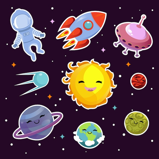 Space fashion patch badges with planets, stars and alien spaceships Premium Vector