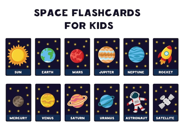 Space flashcards for kids.   illustrations of solar system planets with their names. Premium Vector