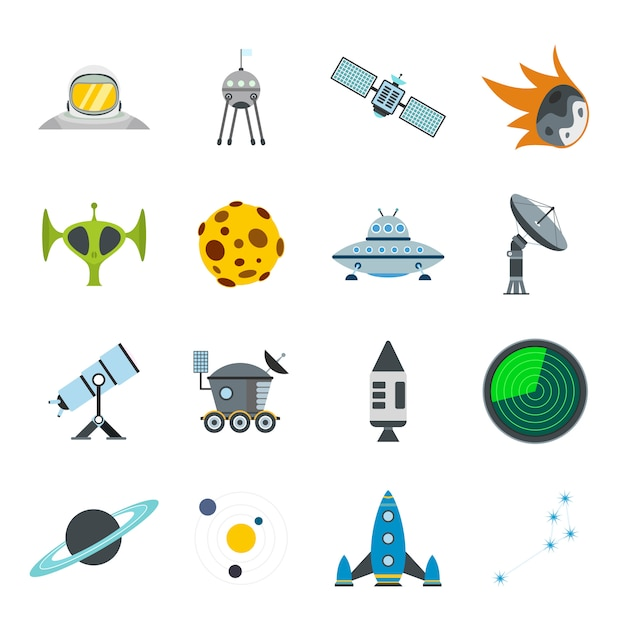 Space flat elements set for web and mobile devices Premium Vector