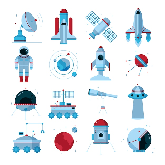 Space flat icons set Free Vector