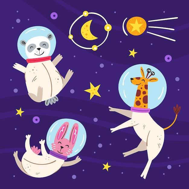 Space  flat illustration, set of elements, stickers, icons. isolated on background. giraffe, rabbit, panda bear in space suit, star, moon, comet. galaxy, science. futuristic. Premium Vector
