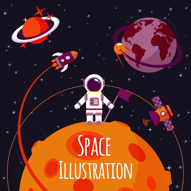 Space flat illustration Free Vector