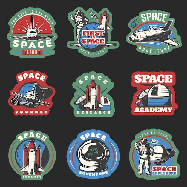 Space flights and research colored emblems with cosmic equipment Free Vector
