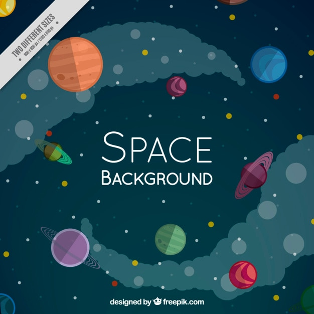 Space full planets background