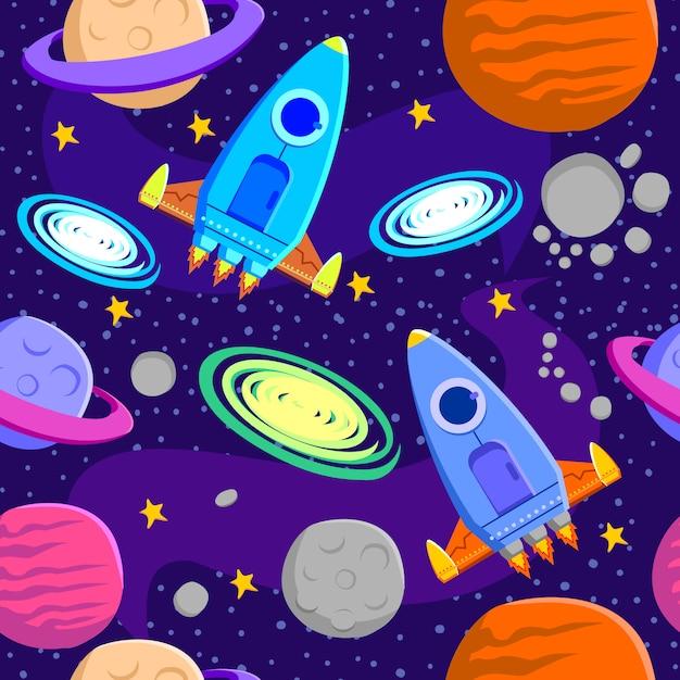 宇宙銀河のシンボルのシームレスなパターン背景 Premiumベクター