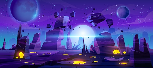 Space game background, neon night alien landscape Free Vector