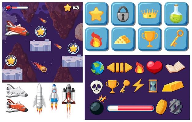 Elementi di gioco spaziale Vettore gratuito