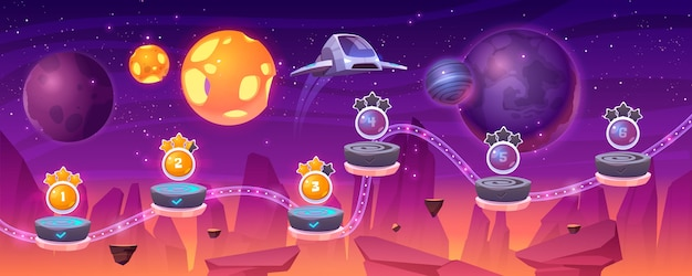 우주선과 외계 행성, 만화 2d gui 풍경, 컴퓨터 또는 플랫폼과 보너스 아이템이있는 모바일 아케이드가있는 우주 게임 레벨지도. 코스모스, 우주 미래 배경 일러스트 레이션 무료 벡터