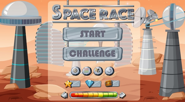 Space game start background Free Vector
