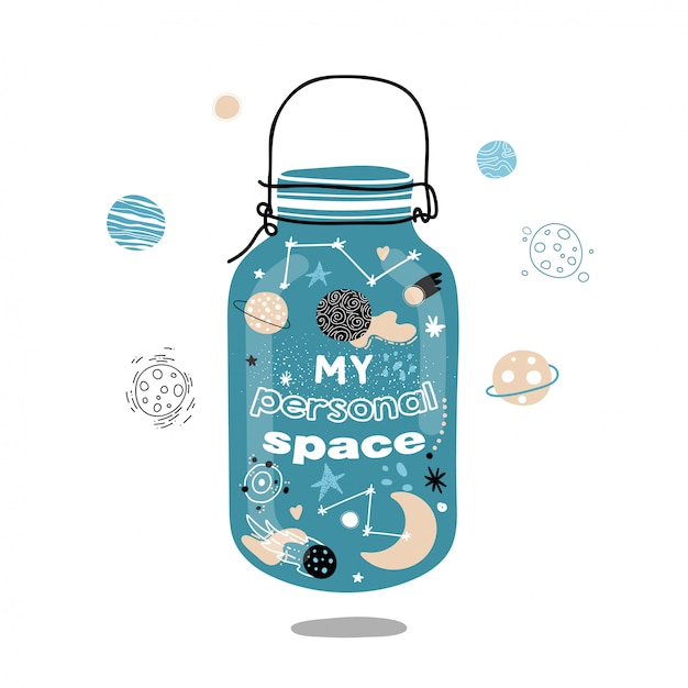 Space in a glass jar. my personal space. Premium Vector