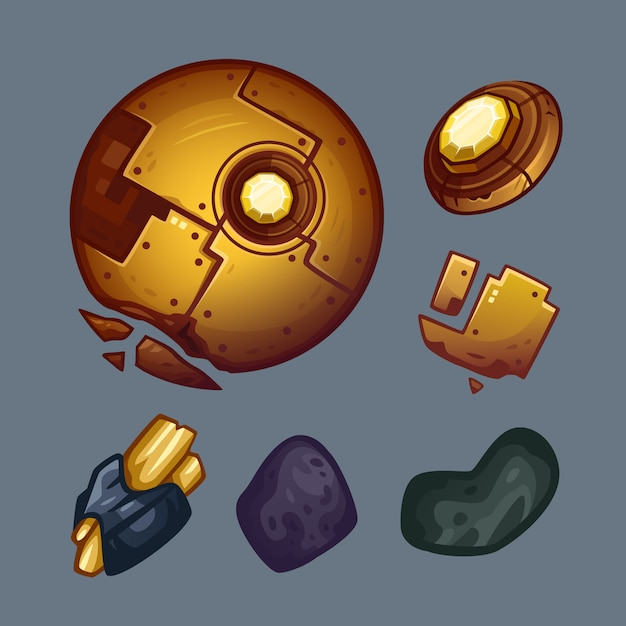 Space golden objects set Premium Vector