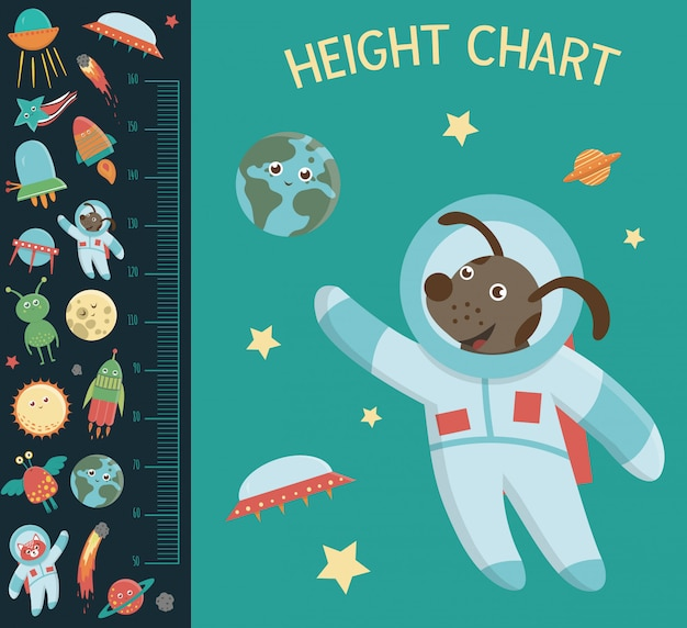 Space height chart. picture with cosmic elements for children. measurement scale with ufo, planet, star, astronaut, comet, rocket, asteroid. Premium Vector