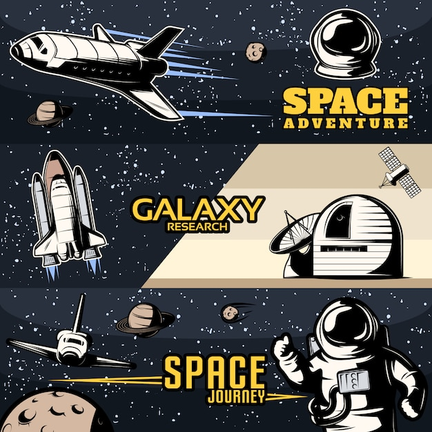 Space horizontal banners set with scientific equipment for galaxy research cosmic shuttles for journeys isolated Free Vector