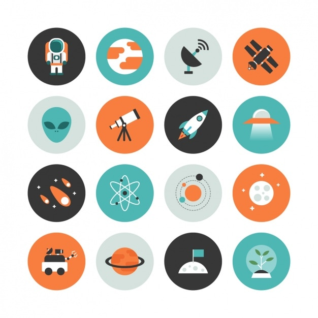 Space icon collection Free Vector