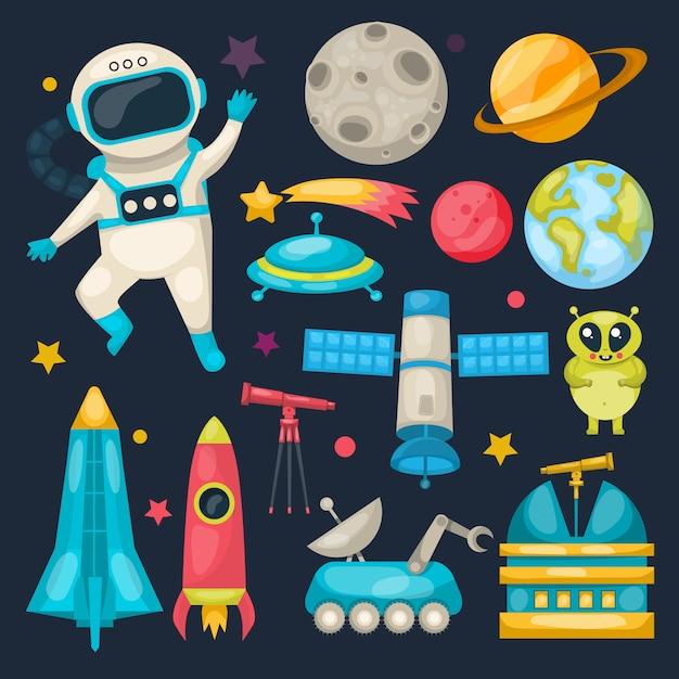 Space icon set Бесплатные векторы
