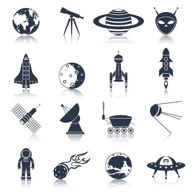 Space icons collection Free Vector