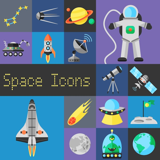 Space icons flat Free Vector