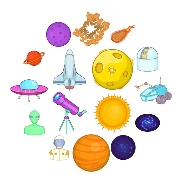 Space icons set, cartoons style Premium Vector