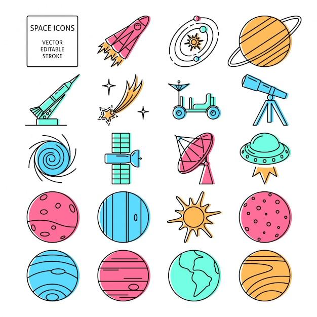 Space icons set Premium Vector