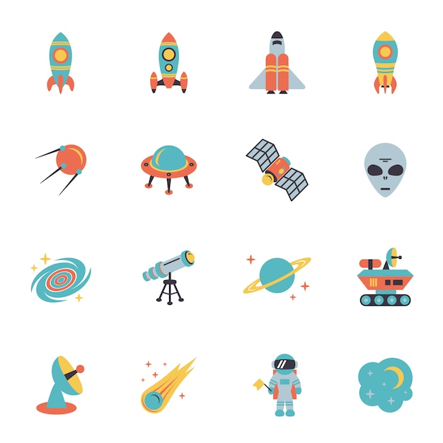 Space icons set Free Vector