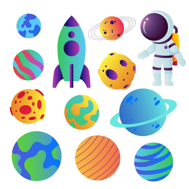 Space icons vector collection design Premium Vector