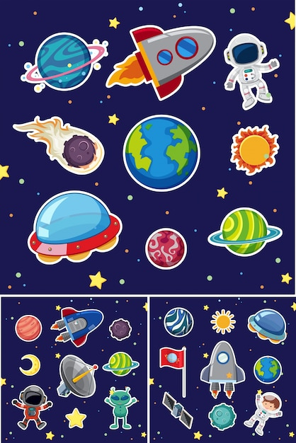 Space icons with rockets and planets Premium Vector