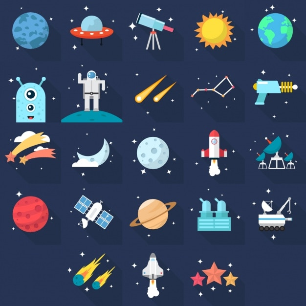 Space icons Free Vector