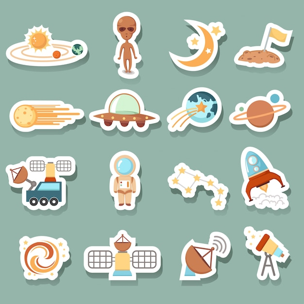 Space icons Premium Vector