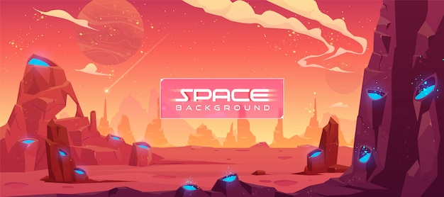 Space illustration, alien fantasy planet landscape Free Vector