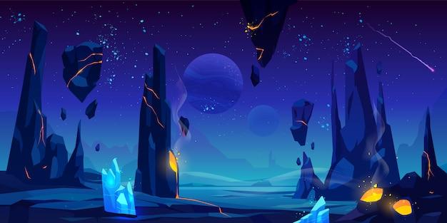 Space illustration, night alien fantasy landscape Free Vector