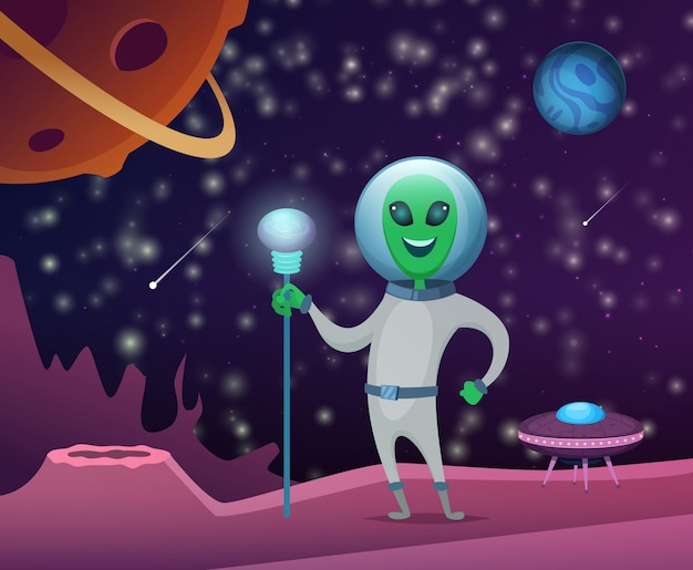 Space illustration with character of funny alien Premium Vector