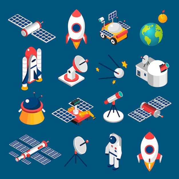 Space isometric icons Free Vector