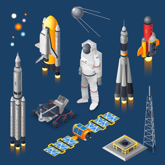 Space isometric set Free Vector