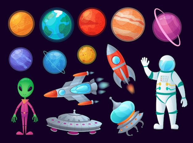 Space items. alien ufo, universe planet and missile rockets. planets game  cartoon graphics  item set Premium Vector