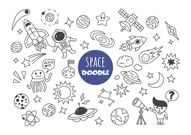Space kawaii doodle Premium Vector