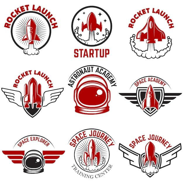 スペースラベル。ロケット打ち上げ、宇宙飛行士アカデミー。ロゴ、ラベル、エンブレム、記号の要素。図。 Premiumベクター