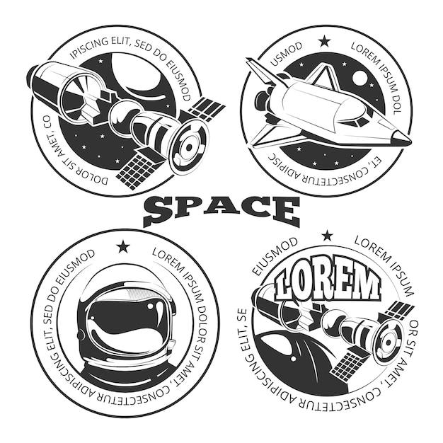 Space labels set Premium Vector