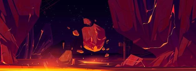 Космический пейзаж со скалами и светящейся лавой в трещинах Бесплатные векторы