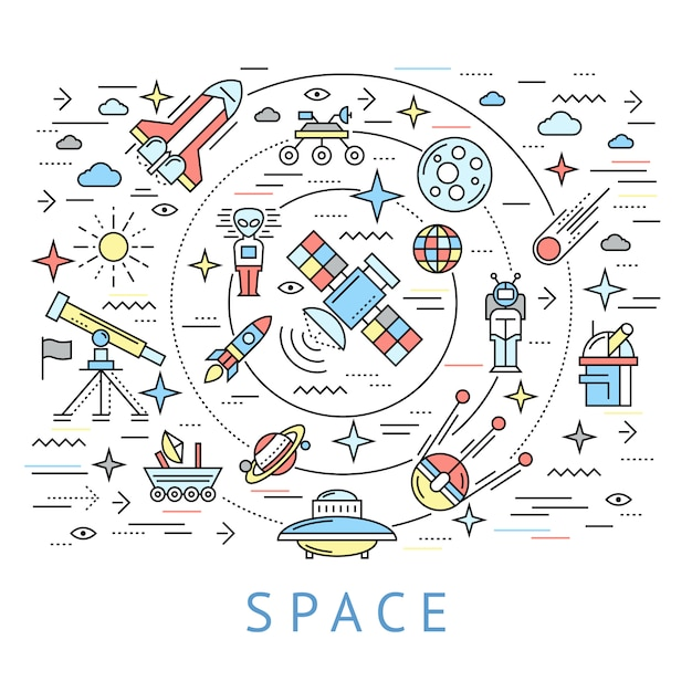 Space line round composition Free Vector