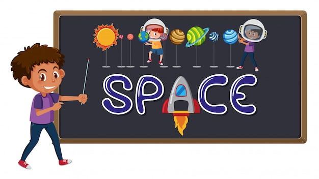 Space logo on blackboard with cute boy Premium Vector