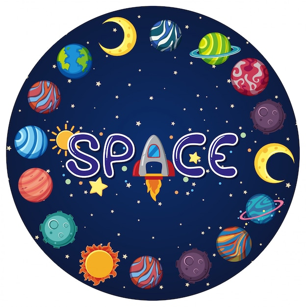 Space logo with many planets in circle shape Premium Vector
